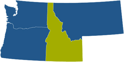blue four state map with Idaho highlighted in green