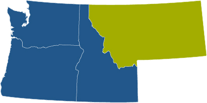 blue four state map with Montana highlighted in green