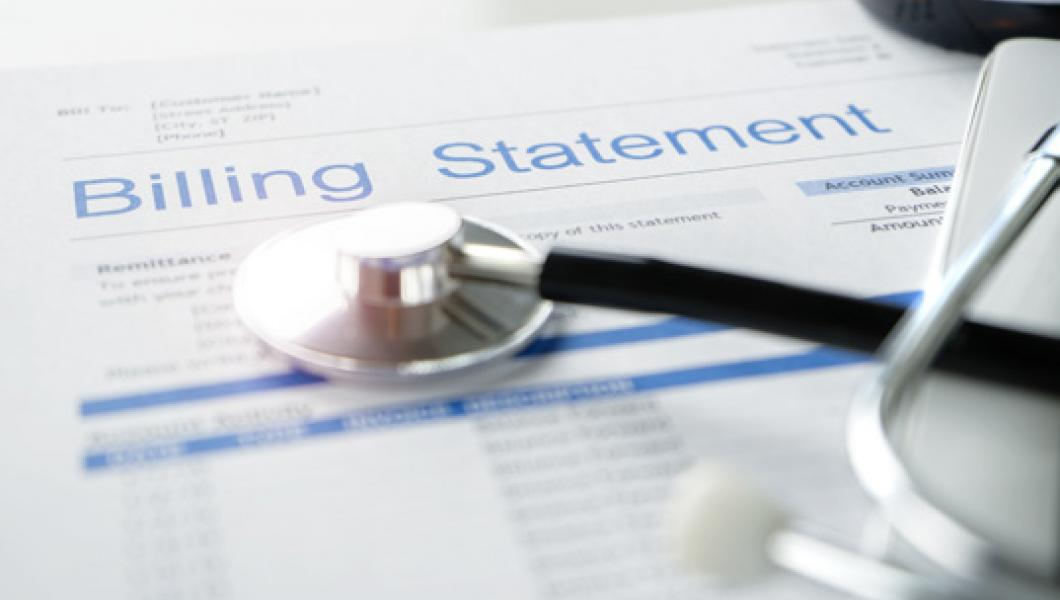 billing statement with stethoscope
