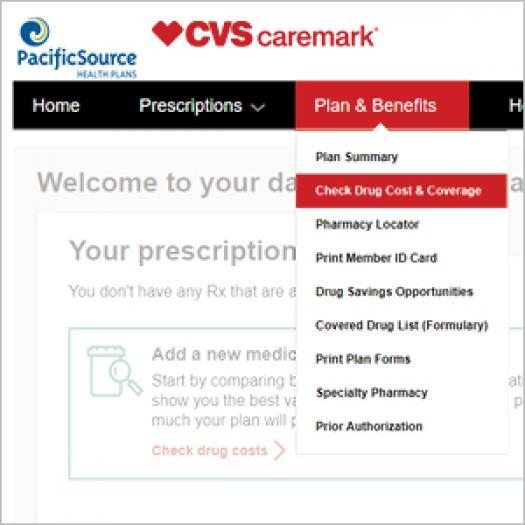 Step three: Find drug cost tool on CVS Caremark website